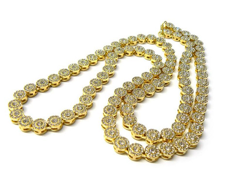 Gold 1509 Premium Rap Chain, Fully Iced Out 36""