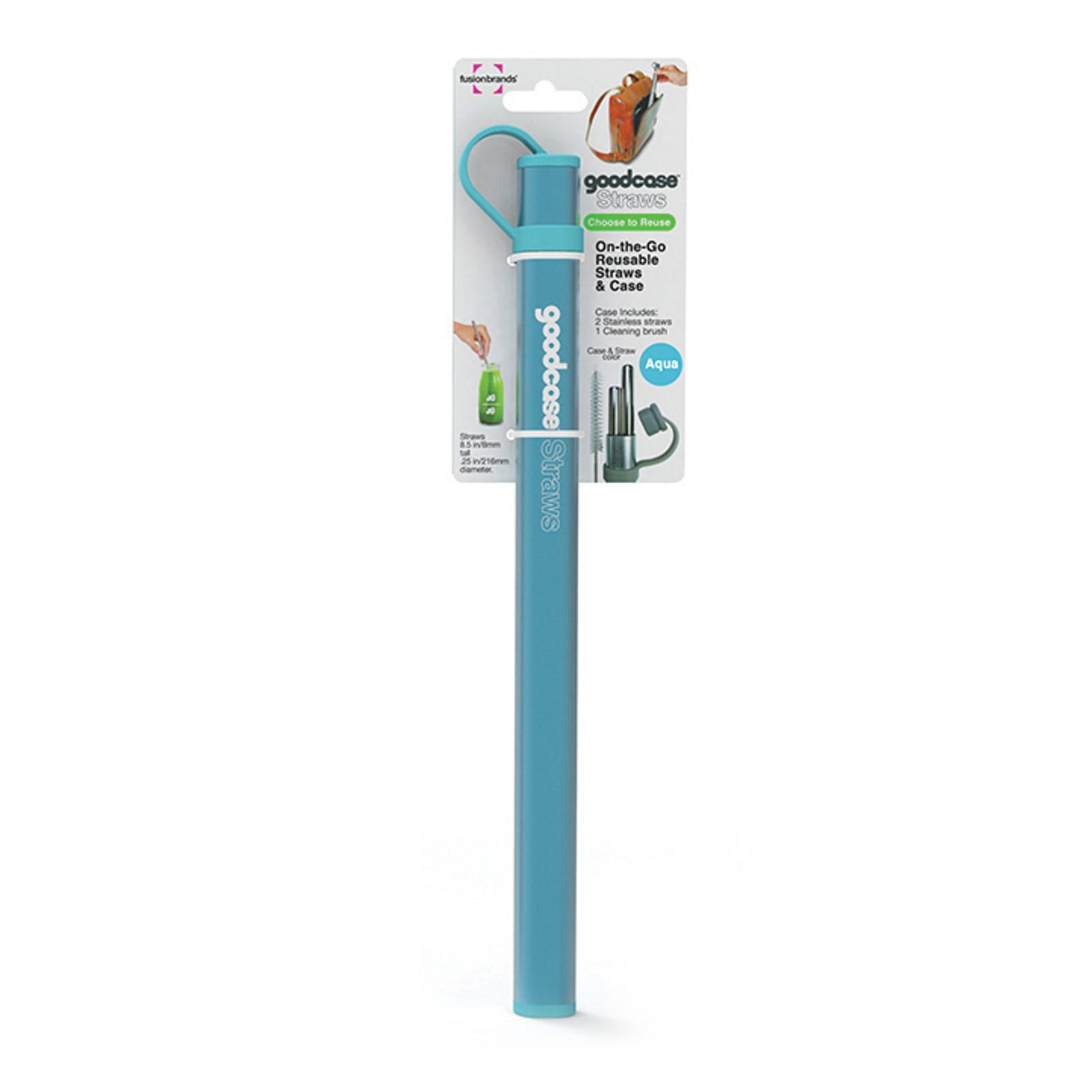 Stainless Steel Straws (Set of 2) - Aqua