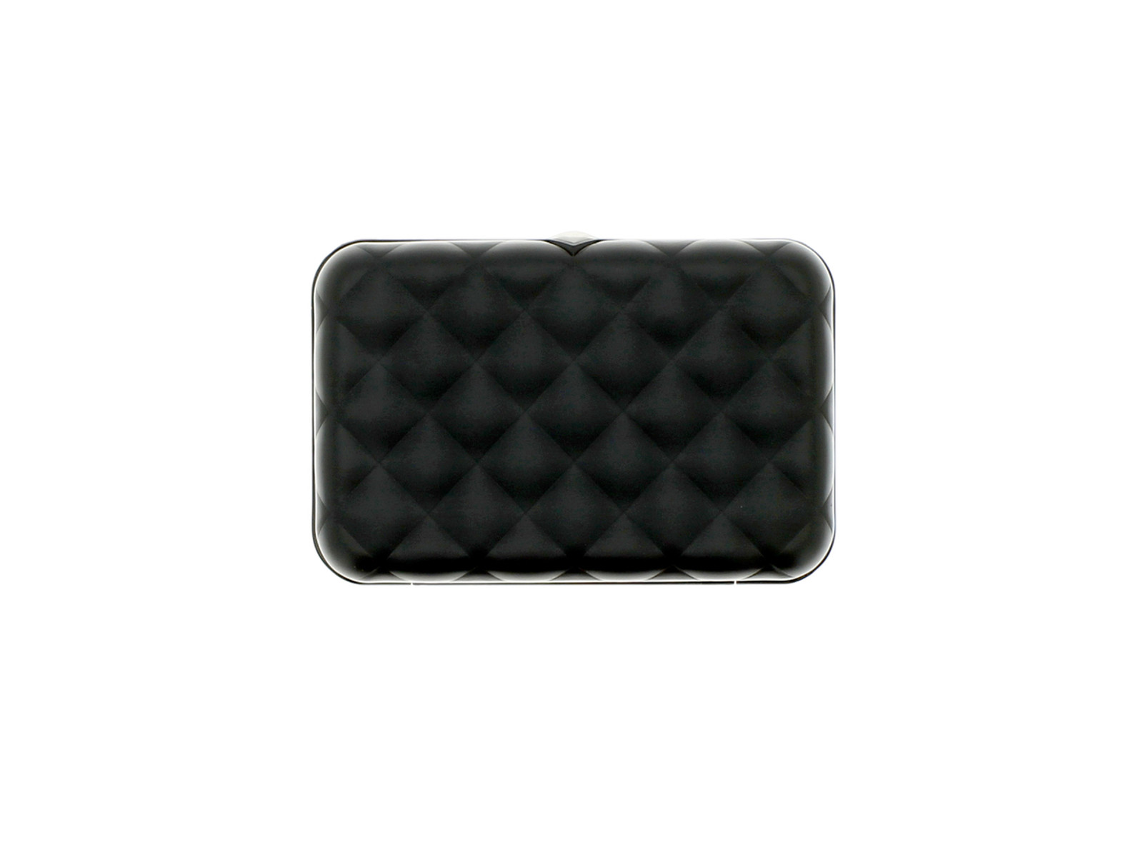 Quilted Button Wallet - Black