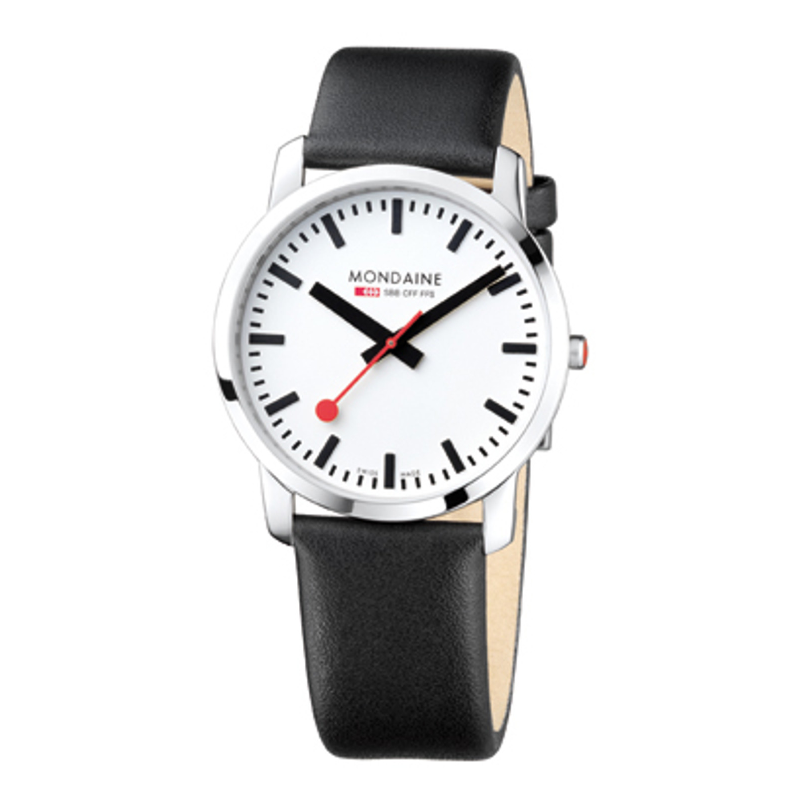 Simply Elegant 41mm - Black Leather Strap White Face Sapphire Glass