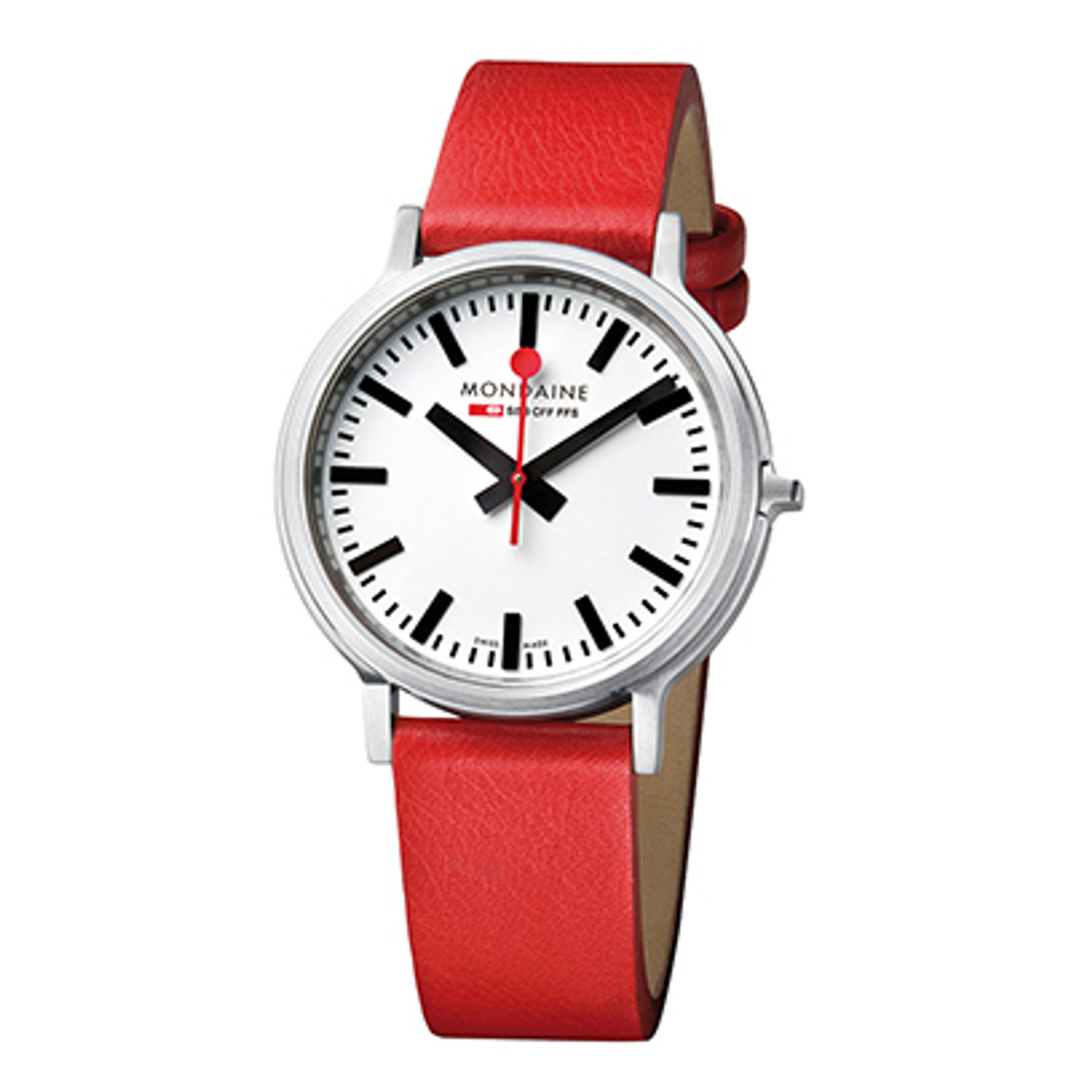 Stop2Go 41mm BackLight - Red Leather Strap White Face