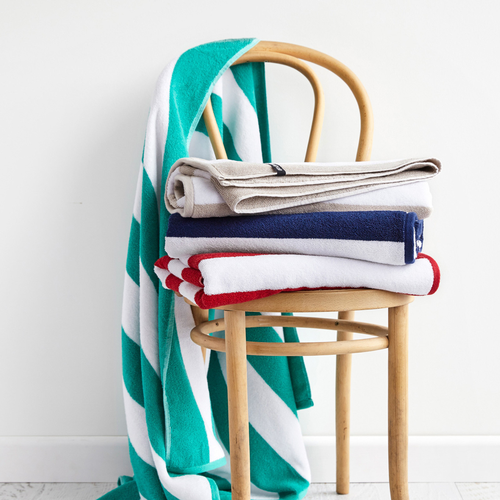 Cotton Terry Cabana Stripe Beach Towel - Spearmint