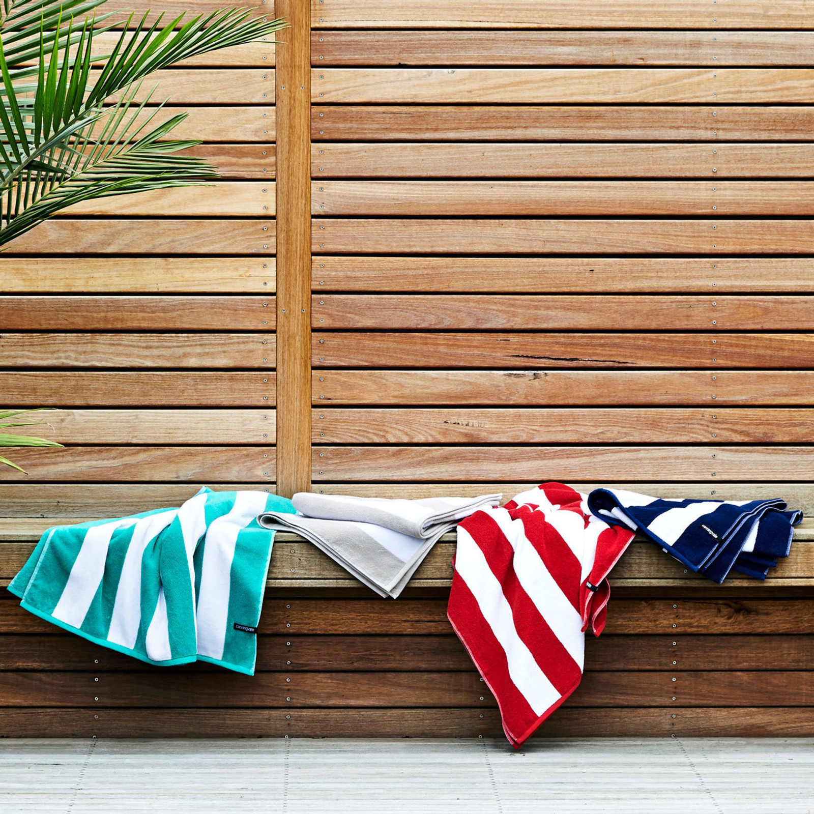 Cotton Terry Cabana Stripe Beach Towel - Navy