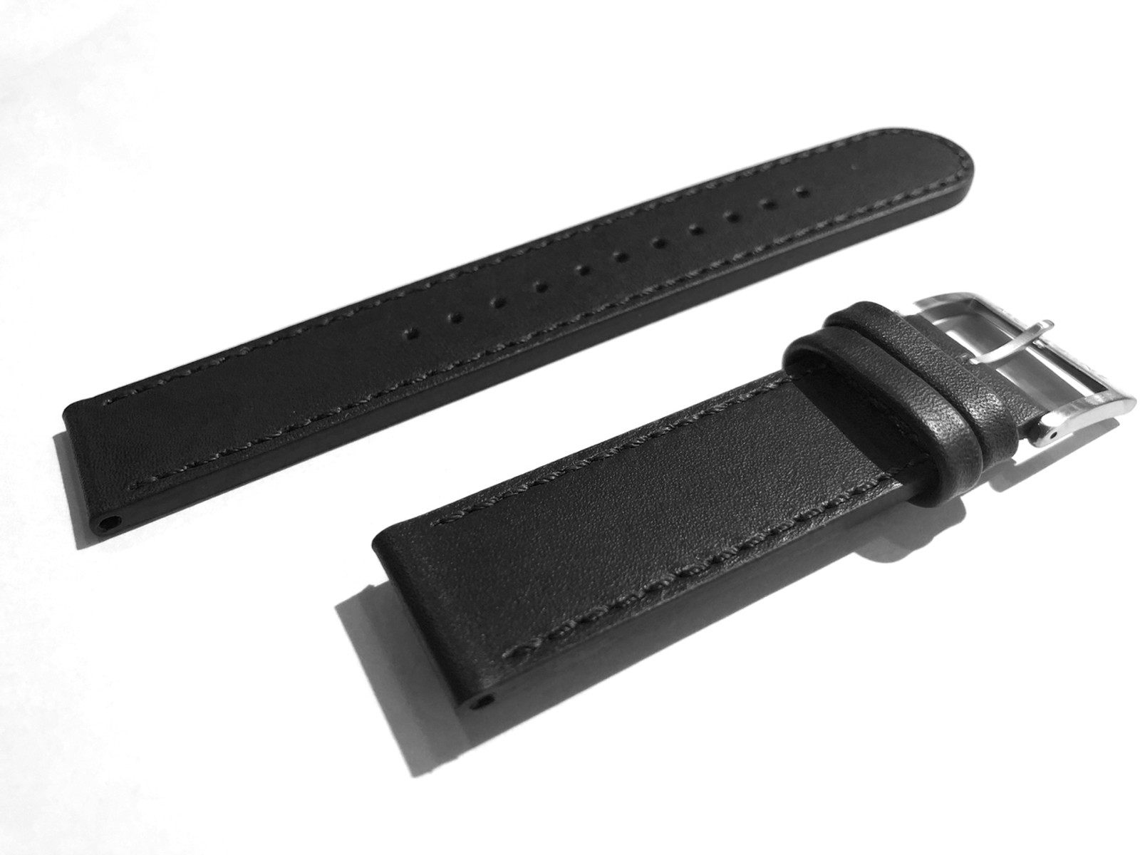 Stitched Leather Strap in BLACK for Stop2Go Watch 20mm