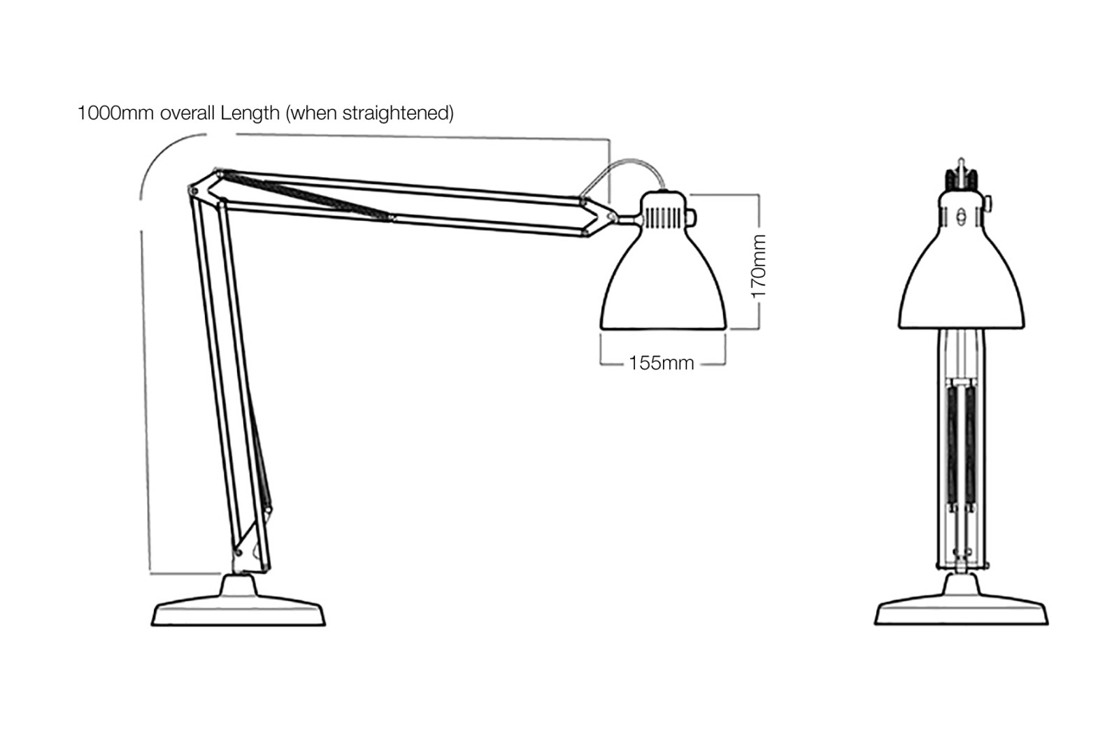 Luxo L1 - LED Dimensions