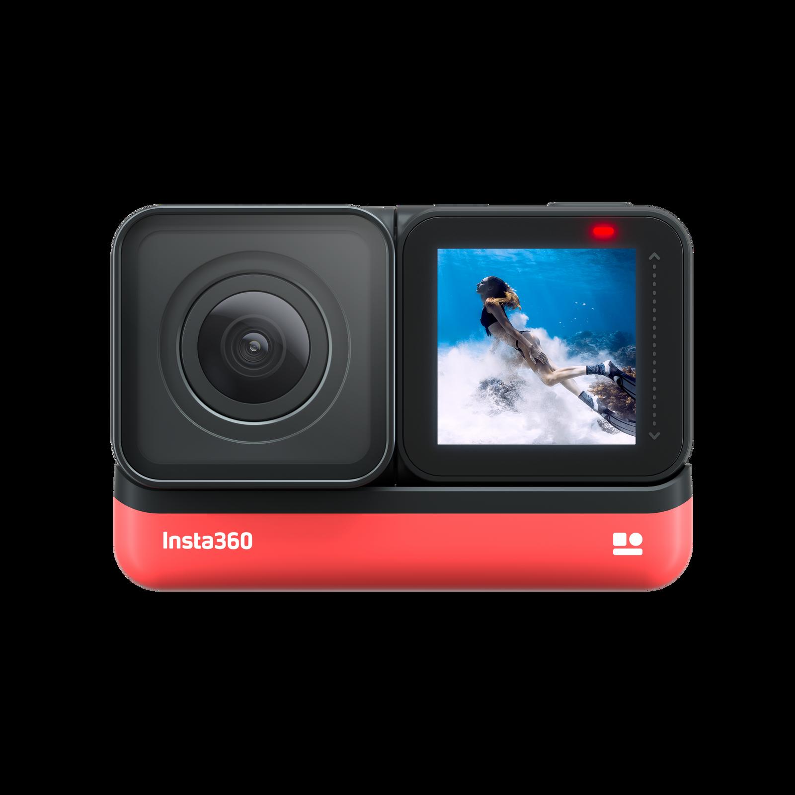 Insta360-ONE R - 4K camera mounted in selfie mode