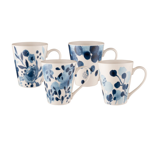 Conical Mug Set of 4 - Sapphire Blooms