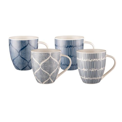 Mega Mug Set of 4 - Indigo Sketch