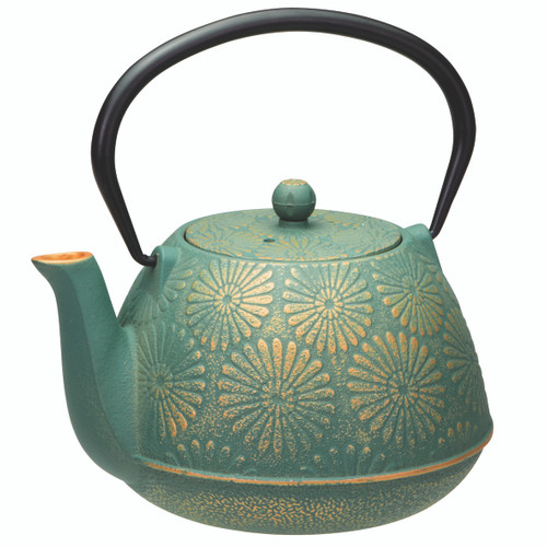 Daisy Teal/Gold Cast Iron Teapot