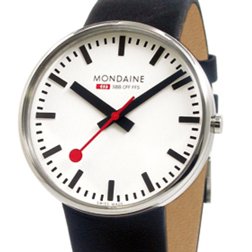 Giant Back Light 42mm - Black Leather Strap White Face