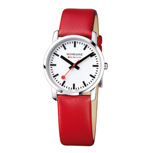 Simply Elegant 36mm - Red Leather Strap White Face Sapphire Glass
