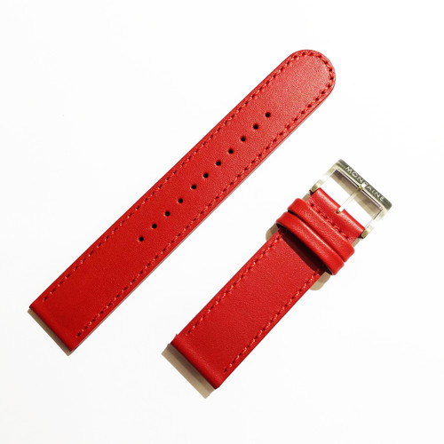 Stitched Leather Strap in RED for Stop2Go Watch 20mm