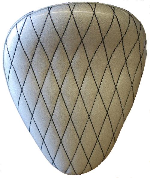 "13"" HARLEY CHOPPER BOBBER SOLO SEAT WHITE METAL DIAMOND FLAKE BY LA ROSA DESIGN"
