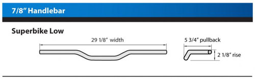 "7/8"" SUPERBIKE LOW BAR HANDLEBAR Bead Blasted Black, diameter 7/8"" (22.15mm)"