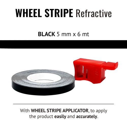 BLACK REFRACTIVE WHEEL RIM TAPE AND APPLICATOR BLACK  5mm x 6mt REFLECTIVE VINYL SELF ADHESIVE MADE IN ITALY