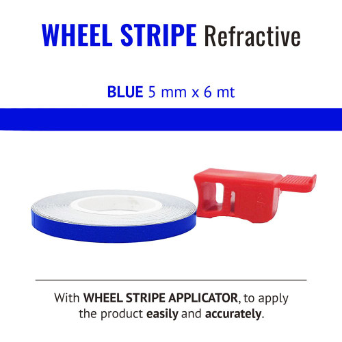 BLUE REFRACTIVE WHEEL RIM TAPE AND APPLICATOR  5mm x 6mt REFLECTIVE VINYL SELF ADHESIVE MADE IN ITALY