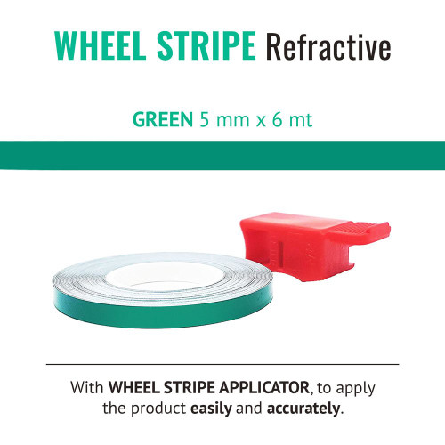 GREEN REFRACTIVE WHEEL RIM TAPE AND APPLICATOR   5mm x 6mt REFLECTIVE VINYL SELF ADHESIVE MADE IN ITALY