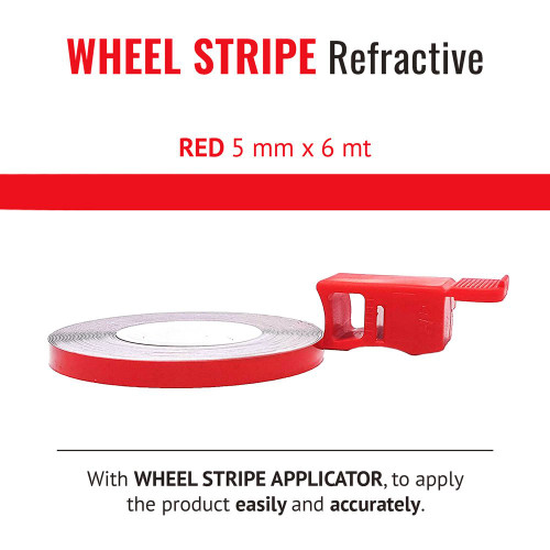 RED REFRACTIVE WHEEL RIM TAPE AND APPLICATOR   5mm x 6mt REFLECTIVE VINYL SELF ADHESIVE MADE IN ITALY