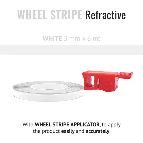 WHITE REFRACTIVE WHEEL RIM TAPE AND APPLICATOR   5mm x 6mt REFLECTIVE VINYL SELF ADHESIVE MADE IN ITALY