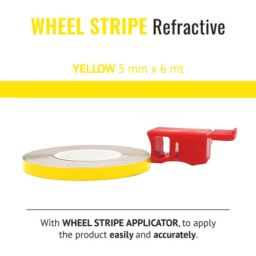 YELLOW  REFRACTIVE WHEEL RIM TAPE AND APPLICATOR   5mm x 6mt REFLECTIVE VINYL SELF ADHESIVE MADE IN ITALY