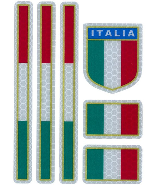 REFLECTIVE ITALIAN FLAG COLOURS 6 PIECES MADE IN ITALY