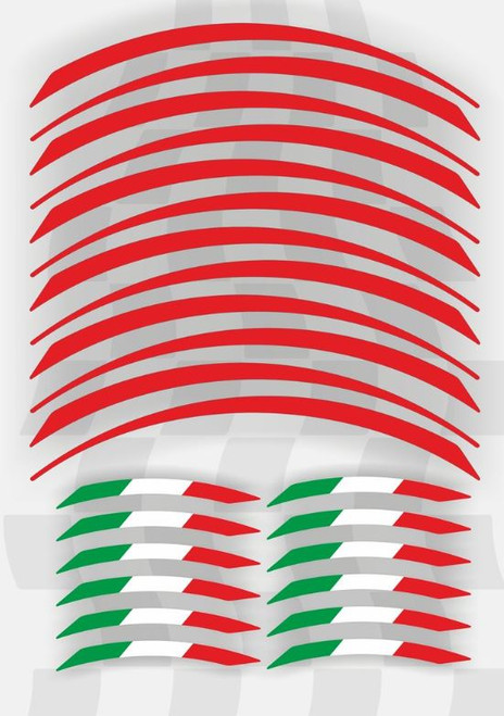 WHEEL RIM STICKER ROSSA RED ITALIAN FLAG KIT 24 PIECES MADE IN ITALY