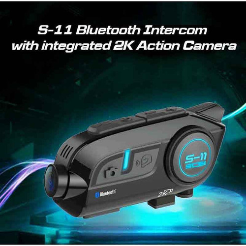 SCS SONY  BLUETOOTH S-11 INTERCOM WITH INTEGRATED 2K ACTION CAMERA 4 RIDERS