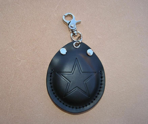 BLACK STAR KEY FOB COVER HOLDER POUCH  ITALIAN LEATHER FITS HARLEY DAVIDSON