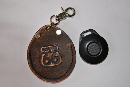 ROUTE 66 KEY FOB COVER HOLDER POUCH ENDS CUOIO ITALIAN LEATHER FITS HARLEY DAVIDSON