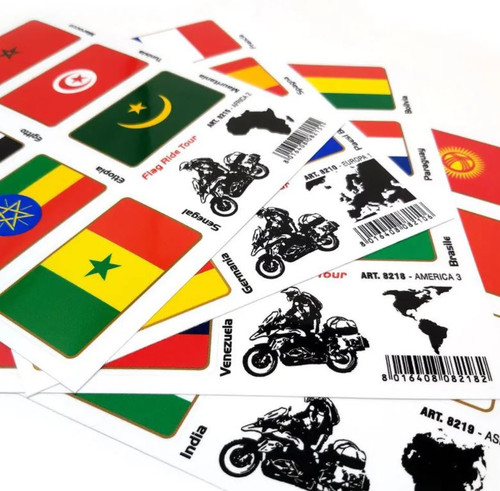 TRAVEL TOUR FLAG STICKERS FOR AUTOS LUGGAGE MOTORCYCLES