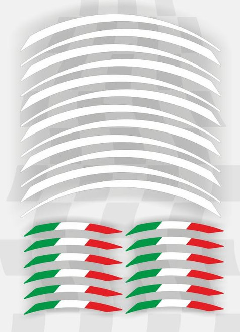 BLANCO WHITE ITALIAN FLAG WHEEL RIM STICKERS 24 PIECES