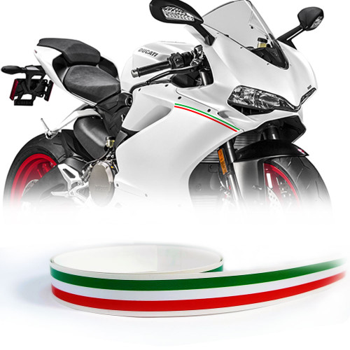 ITALIAN FLAG COLORS TRI-COLORS PIN STRIPE FOR MOTORCYCLES AND AUTOS