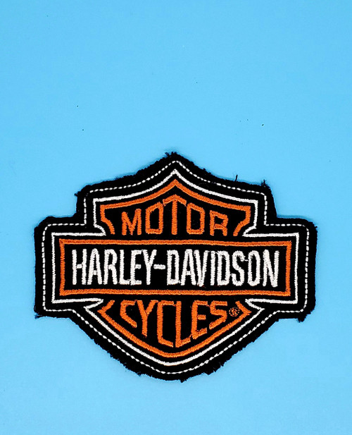 HARLEY DAVIDSON EMBLEM LOGO SEW ON  FRAYED COTTON PATCH