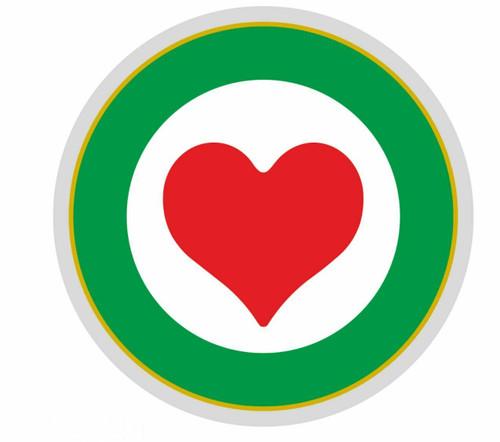 REFLECTIVE ITALIAN FLAG COLOURS CIRCLE HEART MADE IN ITALY