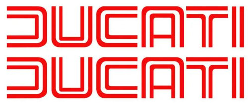 DUCATI RACING FOIL LOGOS STICKERS SET OF 2 MADE IN ITALY