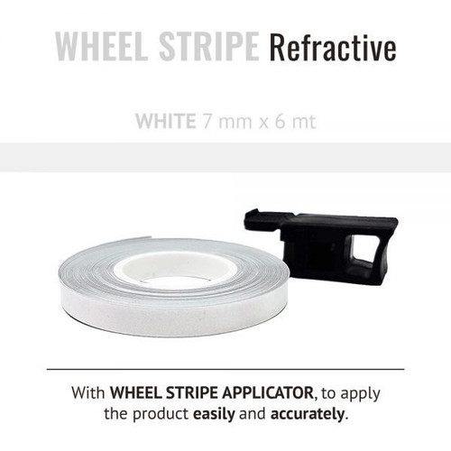 WHEEL RIM TAPE AND APPLICATOR WHITE  7mm x 6mt REFLECTIVE VINYL SELF ADHESIVE MADE IN ITALY