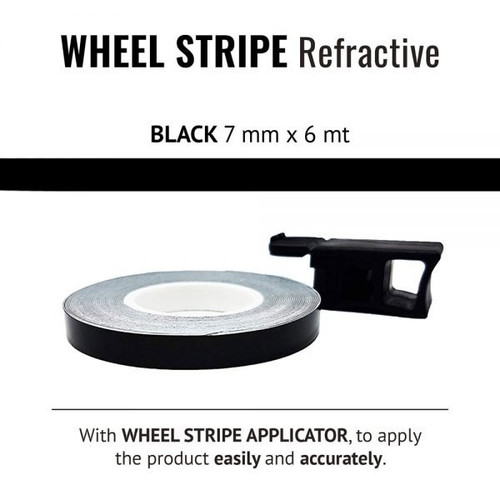 WHEEL RIM TAPE AND APPLICATOR BLACK  7mm x 6mt REFLECTIVE VINYL SELF ADHESIVE MADE IN ITALY
