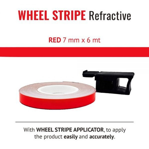 WHEEL RIM TAPE AND APPLICATOR RED 7mm x 6mt REFLECTIVE VINYL SELF ADHESIVE MADE IN ITALY