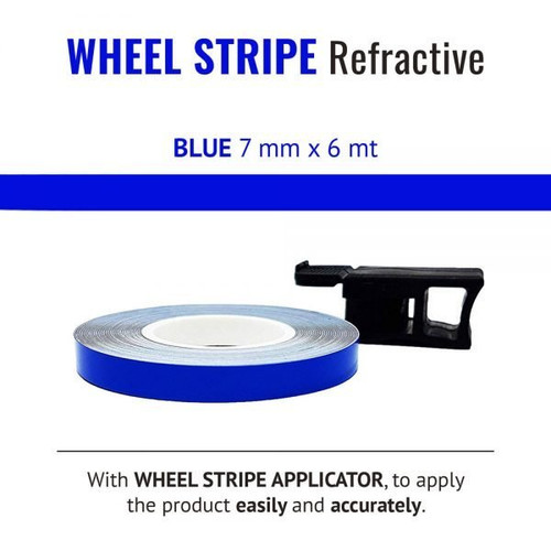 WHEEL RIM TAPE AND APPLICATOR BLUE 7mm x 6mt REFLECTIVE VINYL SELF ADHESIVE MADE IN ITALY