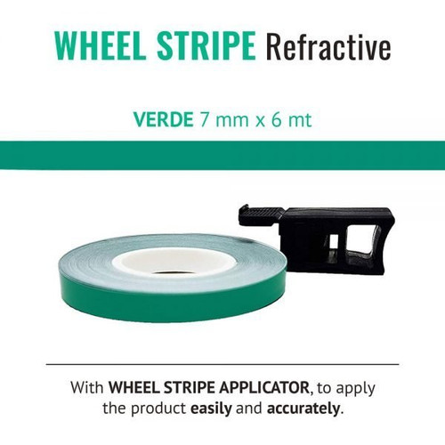 WHEEL RIM TAPE AND APPLICATOR GREEN 7mm x 6mt REFLECTIVE VINYL SELF ADHESIVE MADE IN ITALY