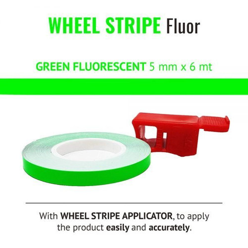 WHEEL RIM TAPE AND APPLICATOR GREEN FLUORESCENT 5mm x 6mt REFLECTIVE VINYL SELF ADHESIVE MADE IN ITALY