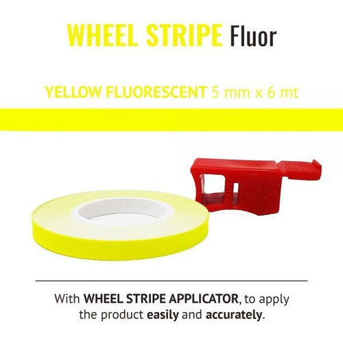 WHEEL RIM TAPE AND APPLICATOR YELLOW FLUORESCENT 5mm x 6mt REFLECTIVE VINYL SELF ADHESIVE MADE IN ITALY