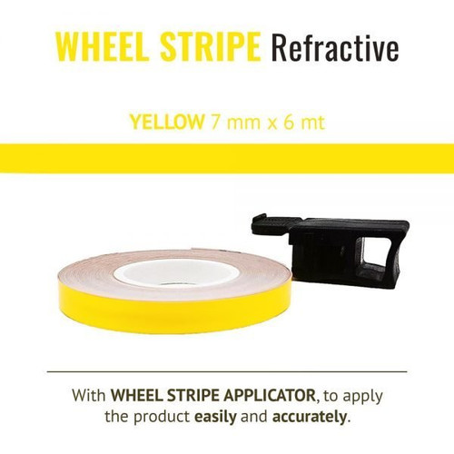 WHEEL RIM TAPE AND APPLICATOR YELLOW 7mm x 6mt REFLECTIVE VINYL SELF ADHESIVE MADE IN ITALY