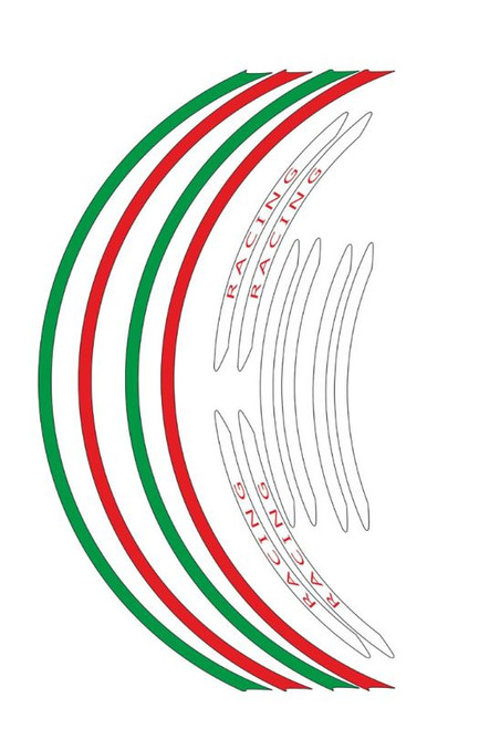 WHEEL RIM STICKERS TRI COLOR VINYL ITALIAN FLAG 12 PIECES