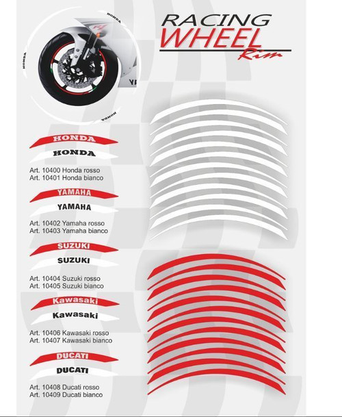 WHEEL RIM STICKER DUCATI WHITE BLANCO  ITALIAN FLAG KIT 24 PIECES MADE IN ITALY