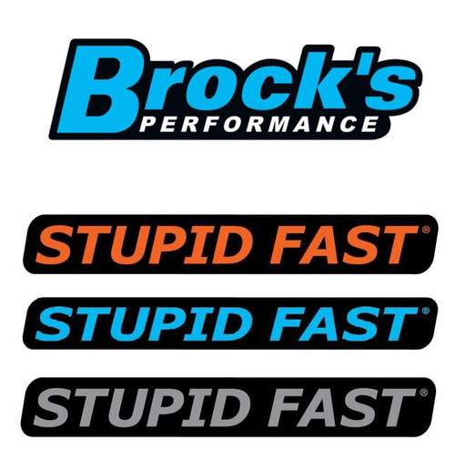 BROCK'S PERFORMANCE STUPID FAST LOGOS STICKERS SET OF 4 SELF ADHESIVE