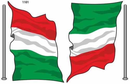 ITALIAN FLAGS ITALIA STYLIZED SET OF 2 MADE IN ITALY