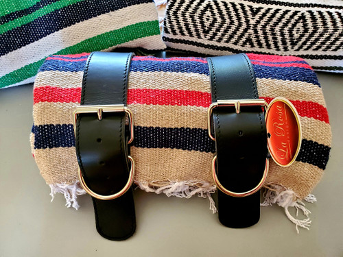MOTORCYCLE MEXICAN VERA CRUZ SERAPE ROLL UP BLANKET BLACK LEATHER BELTS RED TAN NAVY