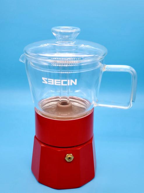 ALUMINIUM CRYSTAL GLASS MOKA POT STOVE TOP ESPRESSO MAKER 120ml 3 CUP  RED GLASS