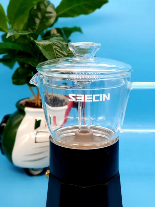 ALUMINIUM CRYSTAL GLASS MOKA POT STOVE TOP ESPRESSO MAKER 120ml 3 CUP  BLACK GLASS